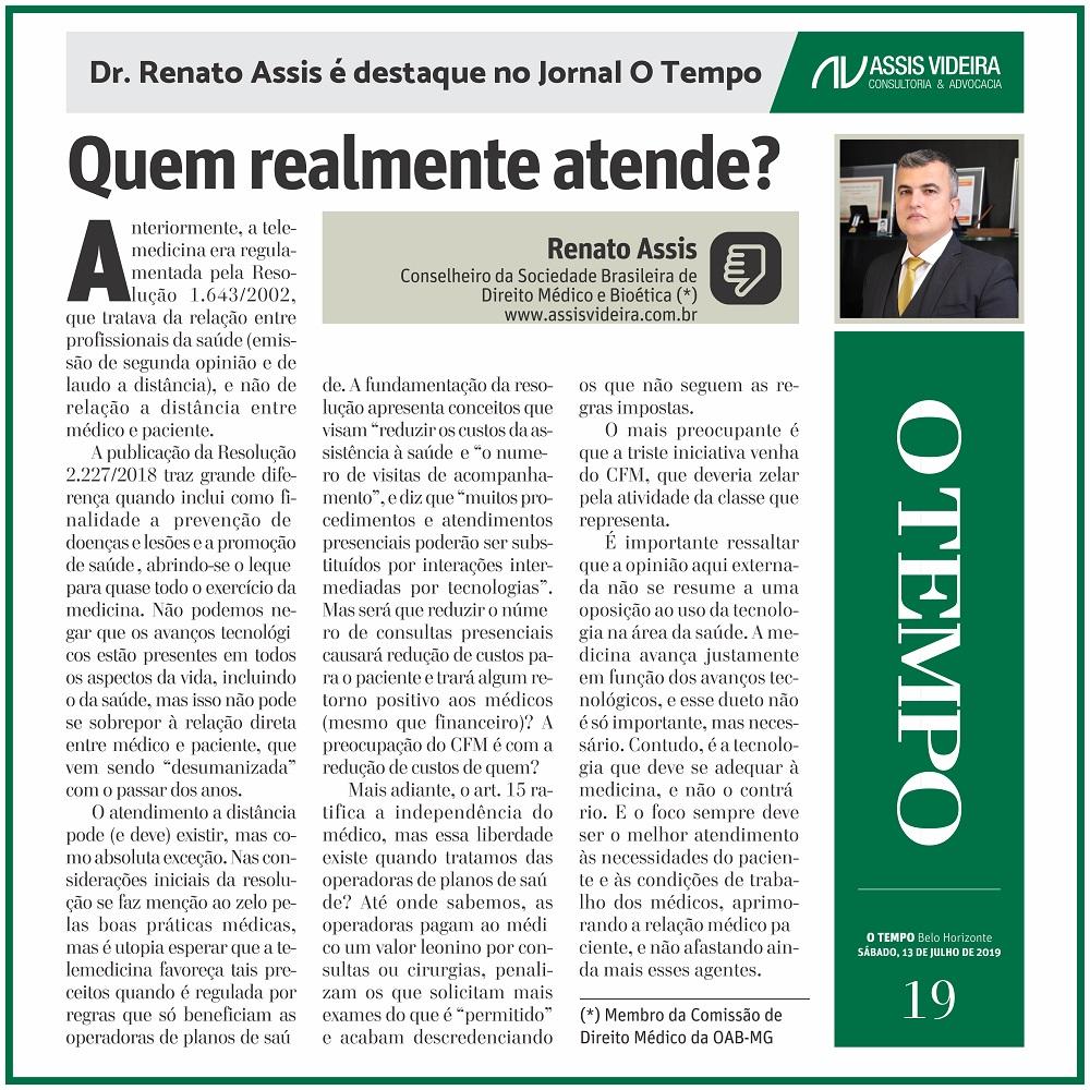 DR. RENATO ASSIS É DESTAQUE NO JORNAL O TEMPO